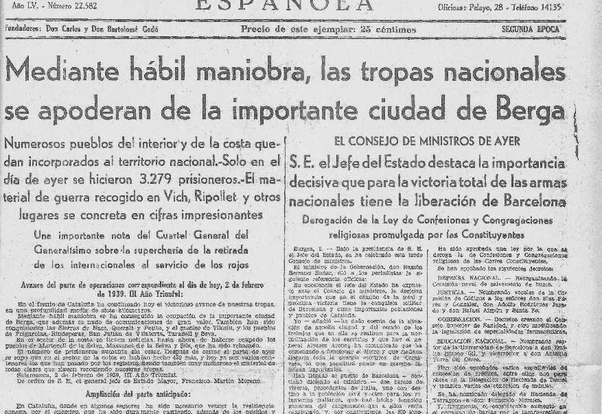 2 febrer de 1939. La Vanguardia