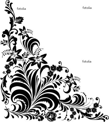 Black And White Floral Pattern Border