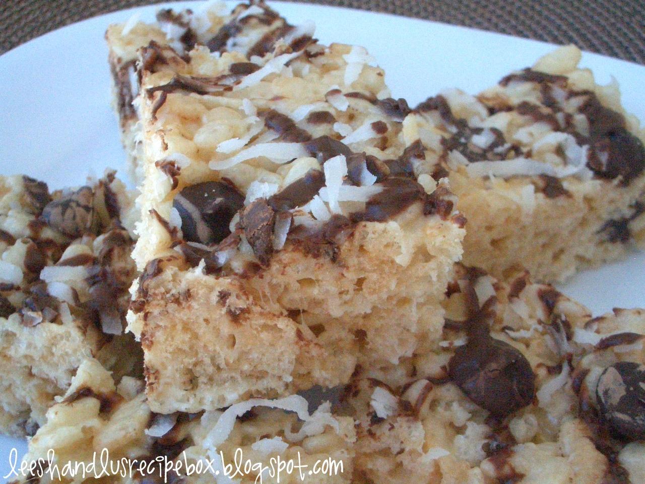 Leesh & Lu's Recipe Box: Coconut-Chocolate Rice Crispy Treats