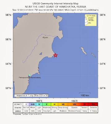 Epicentro sismo 6,6 grados en Rusia, el 12 de Noviembre de 2013