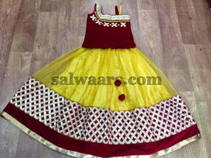Yellow Maroon Kids Skirt