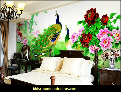 Decorating theme bedrooms maries manor peacock theme for Chinese wallpaper mural
