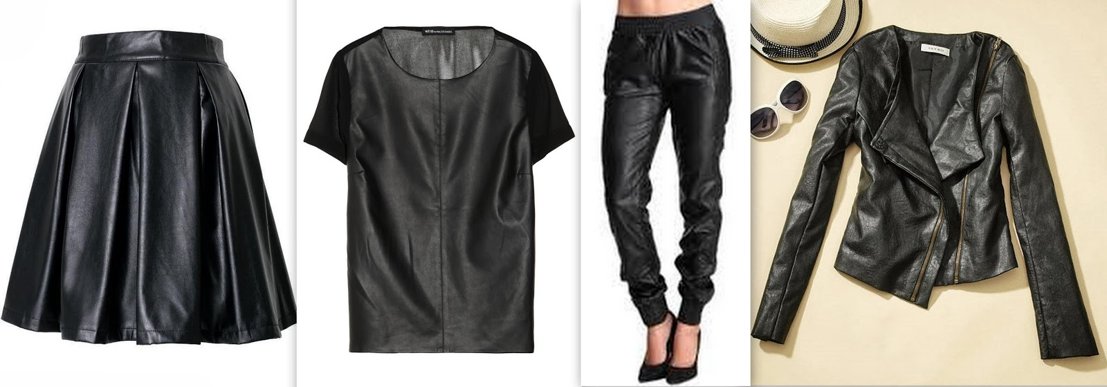 faux leather skirt, faux leather joggers, faux leather top, faux leather jacket,
