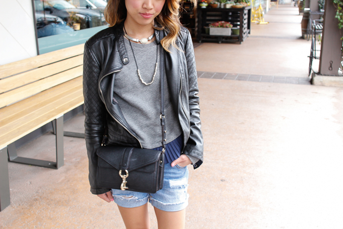J Crew Ruffle Hem Sweatshirt, Rebecca Minkoff Moto bag, Zara Black and White Loafers, Jewelmint Rock of Ages Choker