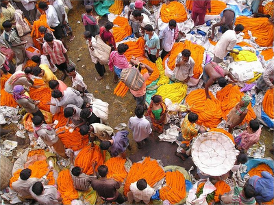 A flower market in Kolkata
