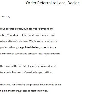 Order letter sample order refferal to local dealer order letter samples spiritdancerdesigns Images
