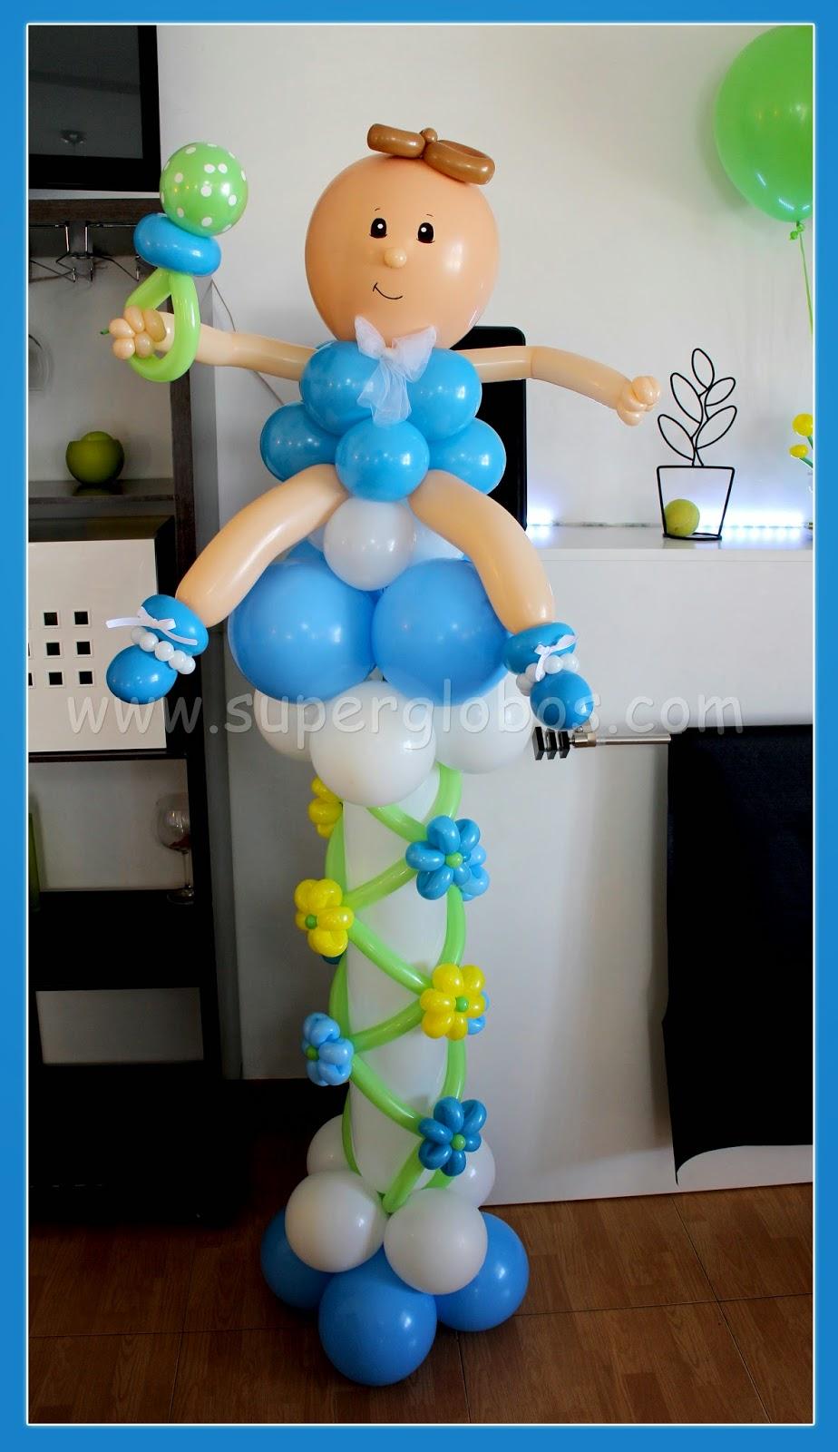 Una decoraci n con globos muy especial para el bautizo de for Decoracion con figuras en la pared