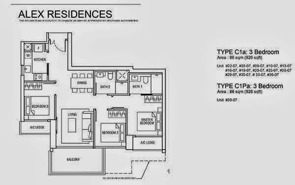 Alex Residences 3 Bedroom Floor Plan