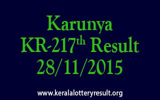 Karunya KR 217 Lottery Result 28-11-2015