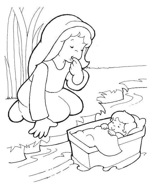 Historias Cristianas: Para colorear Moises