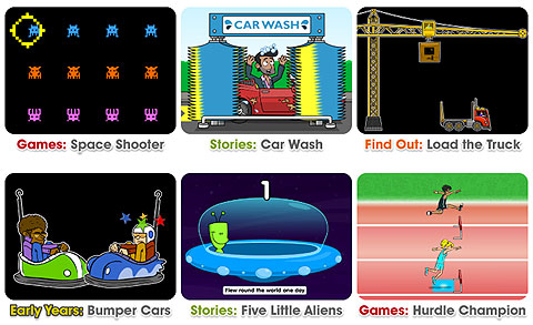 Six screenshots: Games: Space Shooter, a space invaders themed game. Stories: Car Wash, a cartoon image of a man in an open-top car with the roof-down in a car wash. Find Out: Loud the Track, an image of a crane loader and flat-bed lorry. Early Years: Bumper Cars, image of two cartoon bumper cars bashing each other head-on. Stories: Five Little Aliens, image of a space ship. Games: Hurdel Champion, cartoon image of two hurdlers.