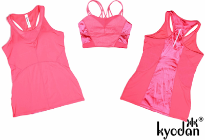 Style Athletics Workout Clothes Kyodan Activewear Active Clothing California Yoga Running Tennis CrossFit Fitness Gym Pink Tank Top Sports Bra
