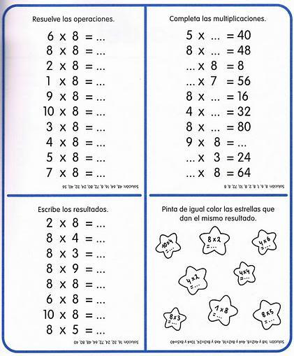 TE CUENTO UN CUENTO Ejercicios de las tablas de multiplicar