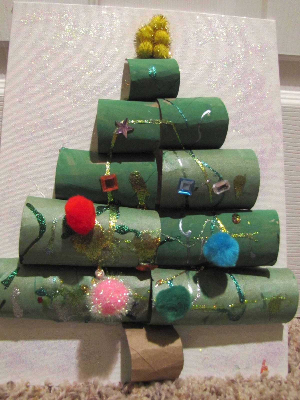 Recycled paper tube christmas tree school time snippets
