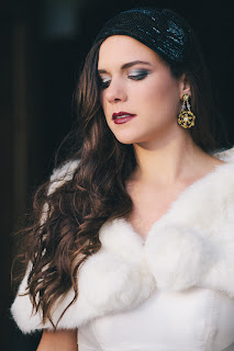 black velvet, gold lace wedding earrings with fur stole