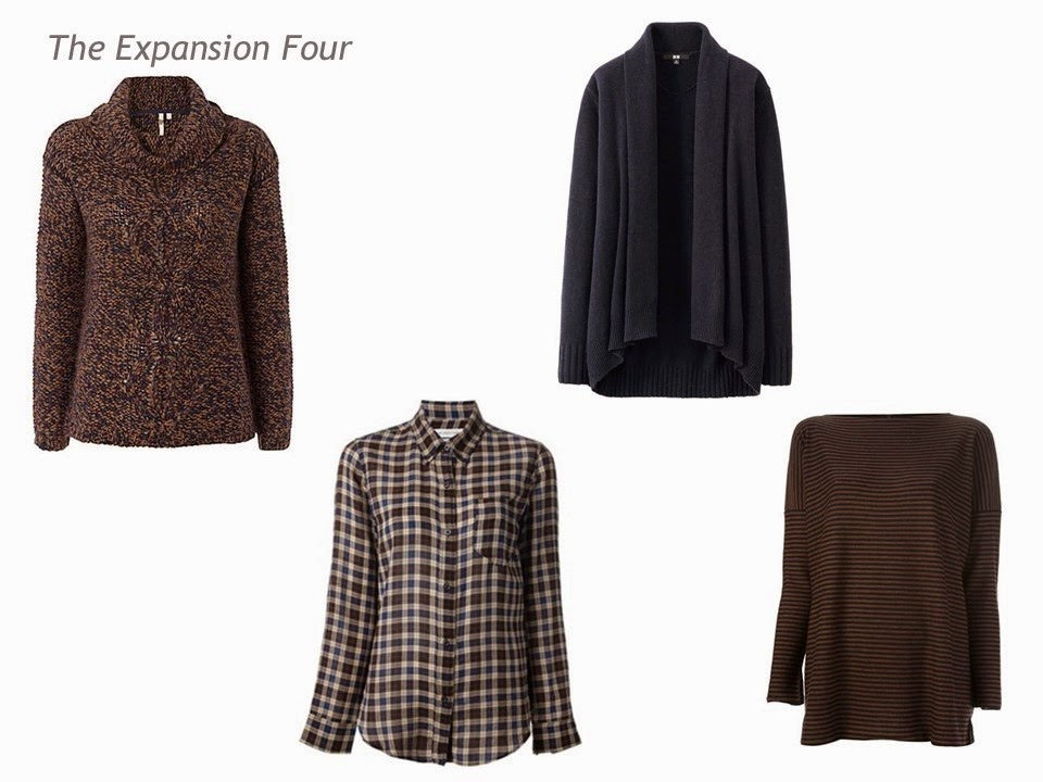 The Expansion Four in brown and navy: marled turtleneck, plaid blouse, cardigan and striped sweater