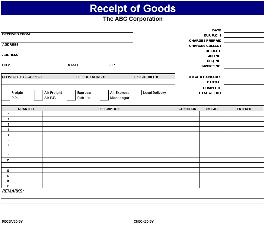receipt template excel