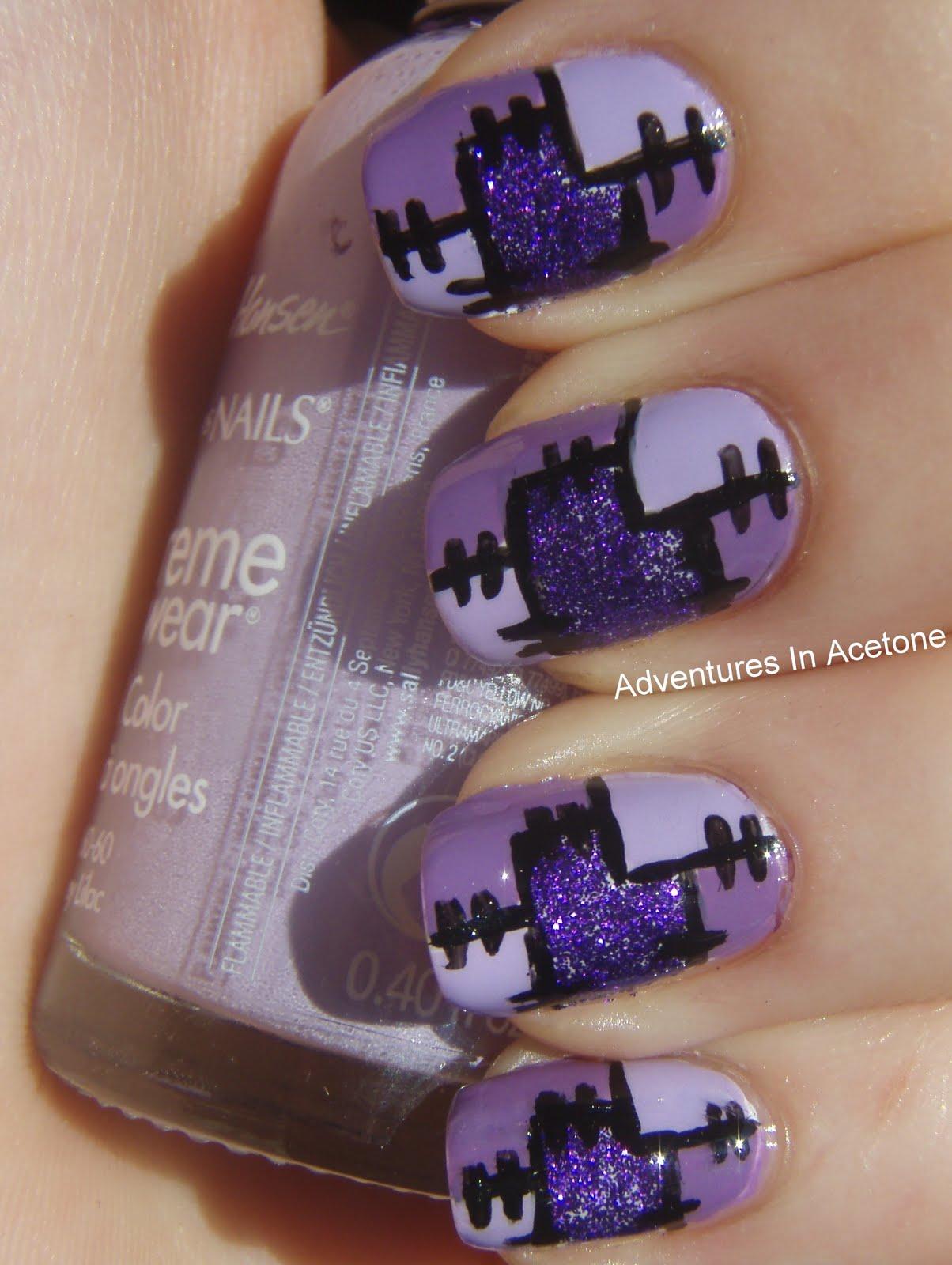 Nail art color violet - I Used Base Coat Opi Nail Envy Essie Blanc For The First Color Coat Striper Brush And Wet N Wild Black Creme For The Lines Nubar Violet Sparkle