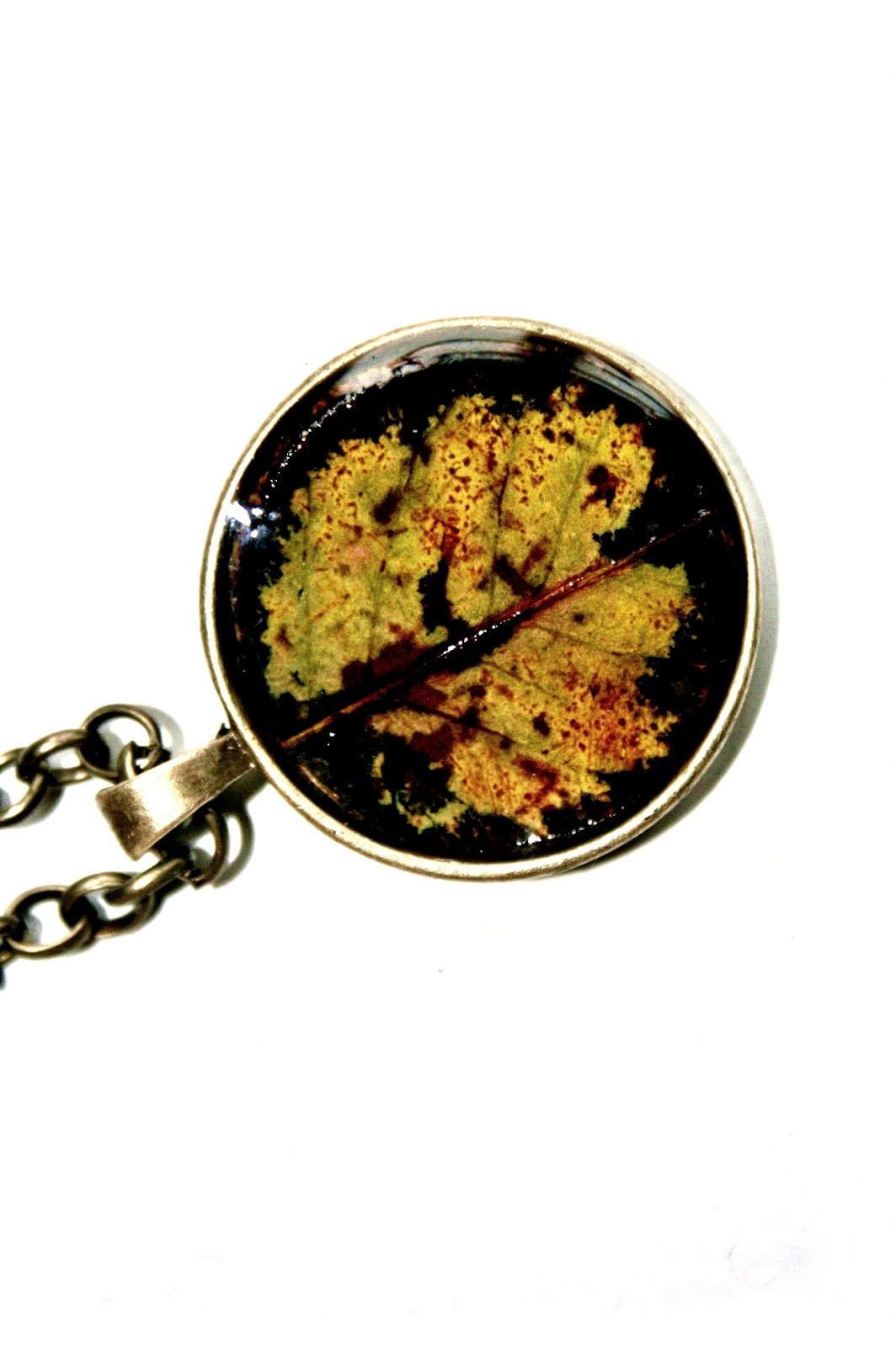 Round leaf encased in resin - amazing combination of colours