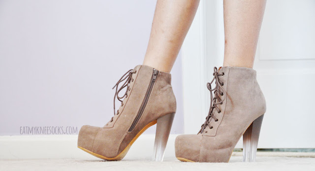 AMIClubwear sells these sexy taupe Jeffrey Campbell Lita platform booties dupes for just $10 a pair, with a unique gradient lucite/clear heel.