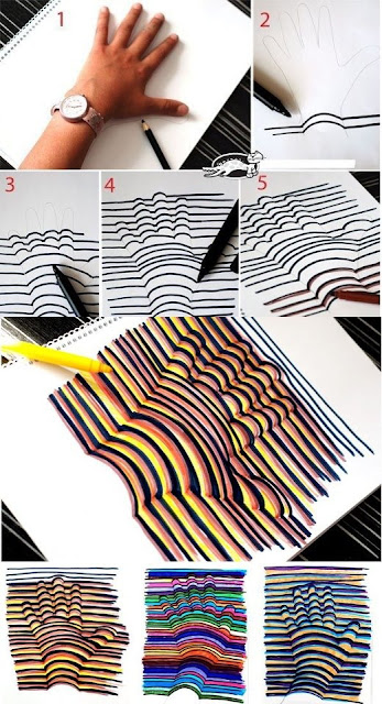desenho da mão com efeito 3D