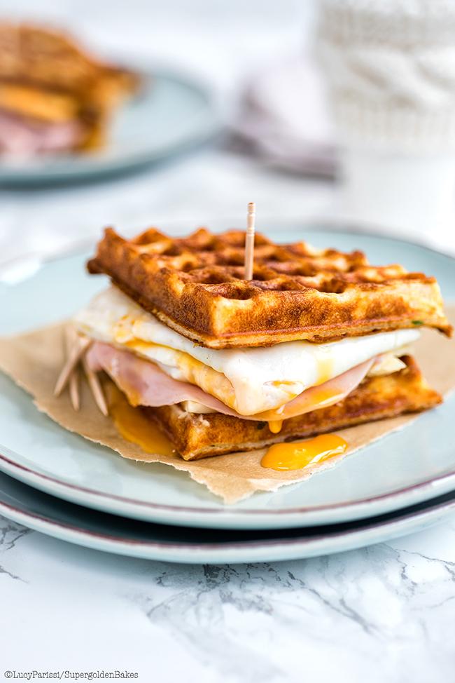 Parmesan waffle, ham, cheese and egg breakfast sandwich supergolden ...