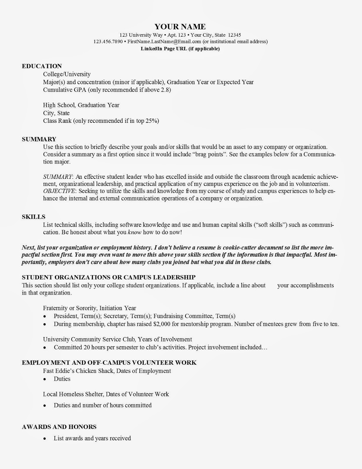 How To Make A College Resume | Resume Badak