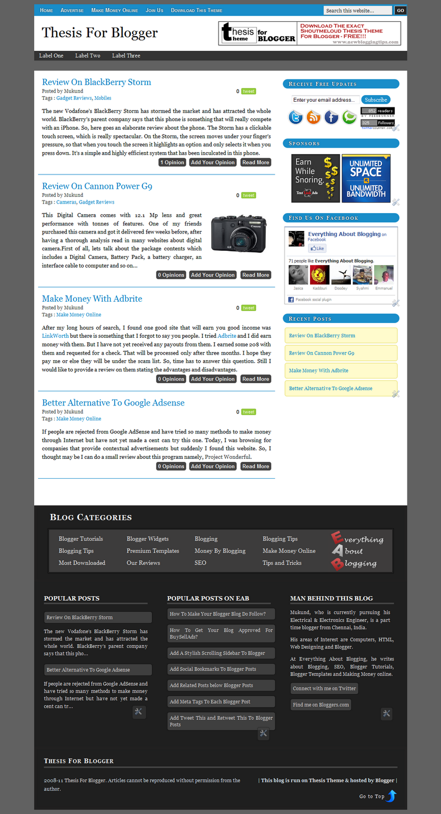 Blogger Template Like Thesis Theme