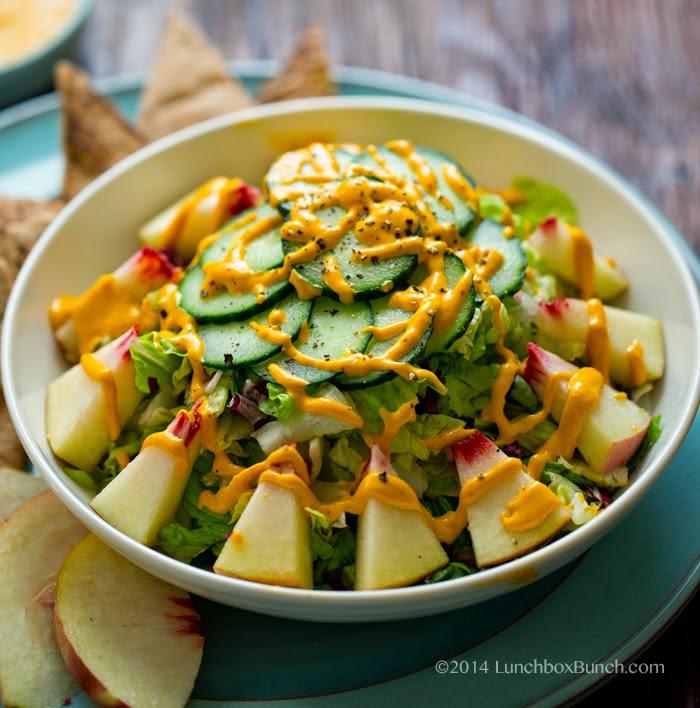 Vegan White Peach Salad with Carrot Ginger Cashew Dressing