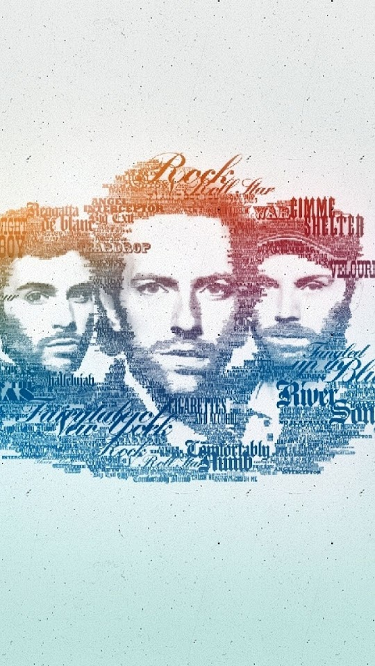 Coldplay Faces Music Band Typography  Galaxy Note HD Wallpaper