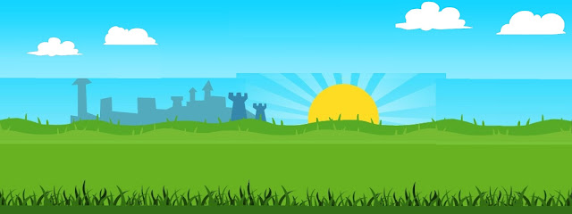 Cartoon green grass and field with castle-esque skyline and rising sun blue sky & white clouds