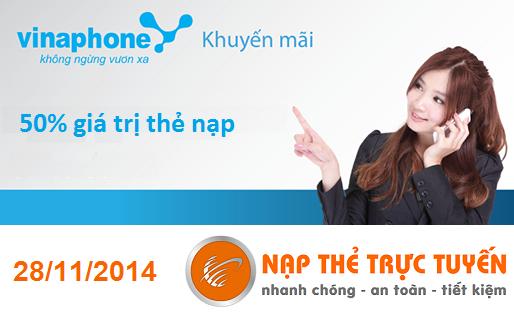 Thông báo của Nạp Thẻ Trực Tuyến về ưu đãi Vinaphone ngày 28/11/2014