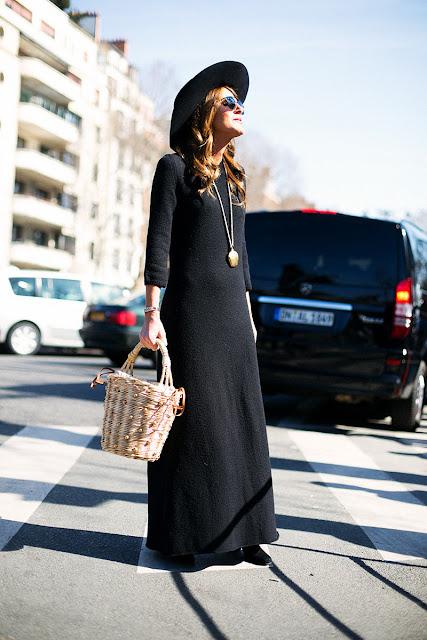 Para ir a lo oficina ¿qué me pongo? Vestido negro sombrero y bolso original