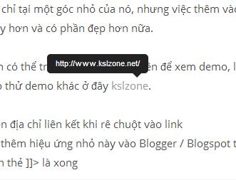 Hiện địa chỉ liên kết khi rê chuột vào link bằng CSS