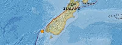 Epicentro sismo 6,2 grados, Sur Nueva Zelanda, 17 de Diciembre 2013