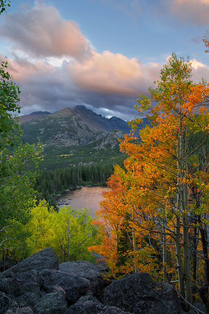 Bear Lake and Longs Peak in Autumn in Rocky Mountain National Park at the classic location at sunset