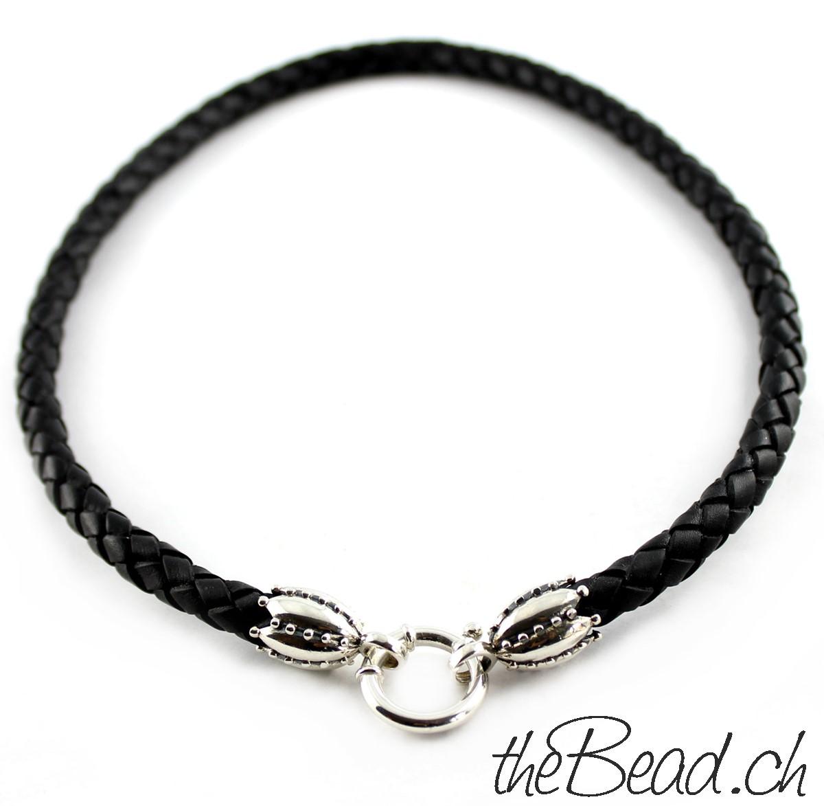 925 Sterling Silber Halskette aus Leder und Silber von theBead