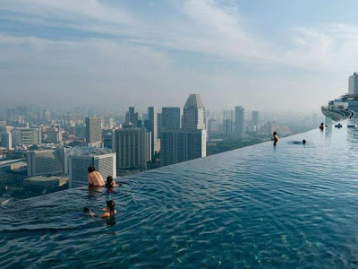 Pool on the 57th floor of Marina Bay Sands Casino In Singapore - FunkyPhotos.org