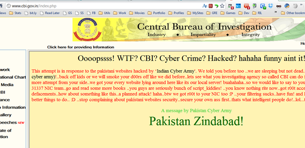CBI India Website Hacked By Pakistani Hackers India VS ...