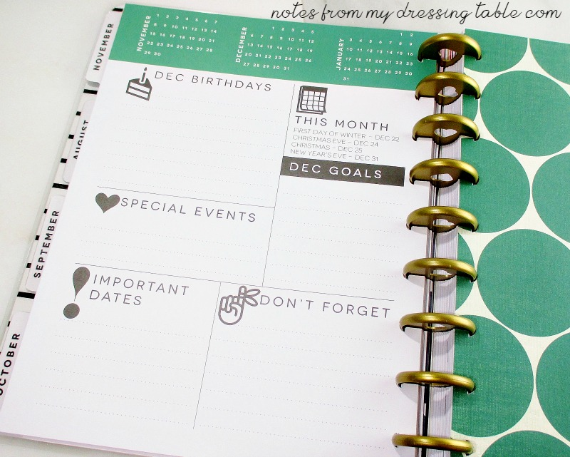 Happy Planner Review Month at a Glance Page notesfrommydressingtable.com