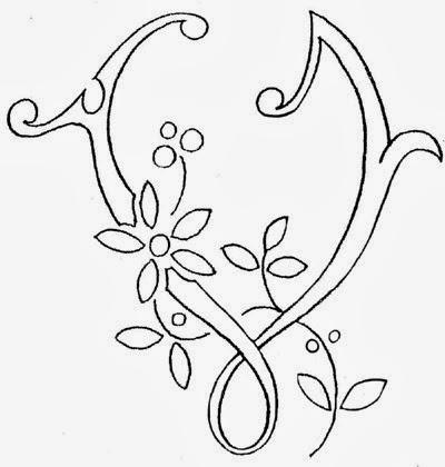 V flower calligraphy monogram tattoo stencils