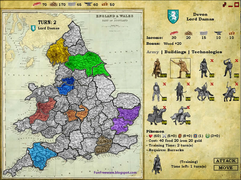 Freeware Turn Based Strategy Knights of War Screenshot Image