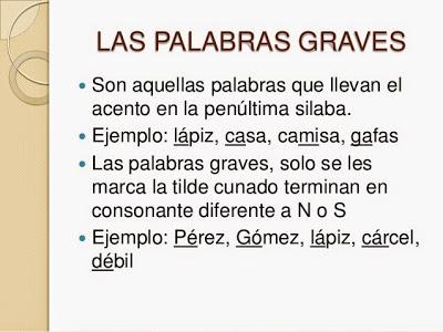 100 EJEMPLOS DE PALABRAS GRAVES O LLANAS - SOLO TIPS :Información ...