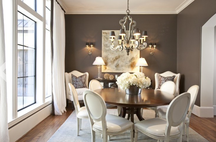 Cream colored dining room with grey rug curtains and for Dining room ideas grey