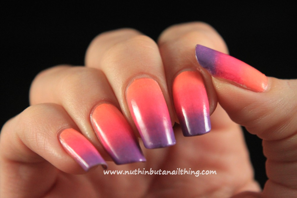 nuthin\' but a nail thing: Coral, Pink and Purple Gradient