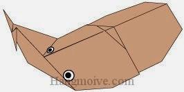 Bước 10: Vẽ mắt để hoàn thành cách xếp con Bọ cánh cứng bằng giấy theo phong cách origami.
