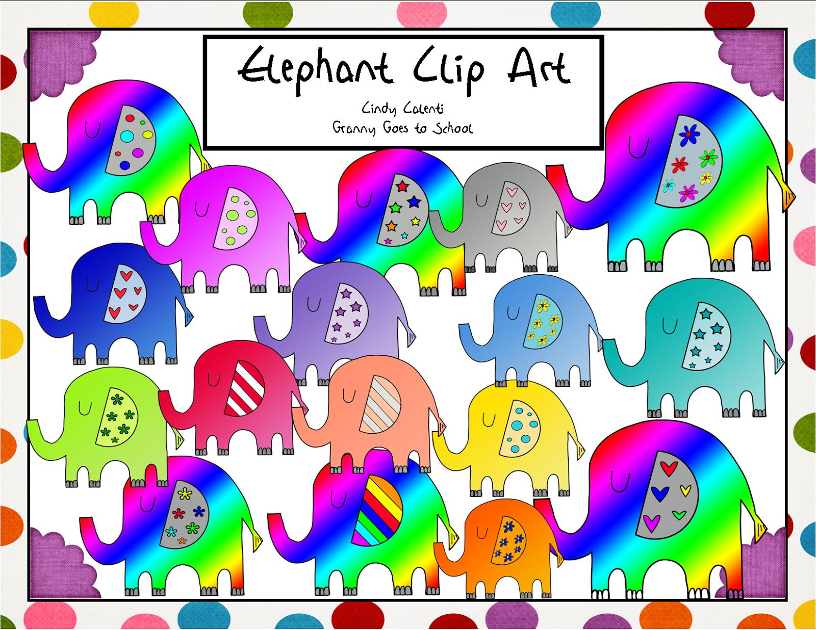 http://www.teacherspayteachers.com/Product/Colorful-Elephant-Clip-Art-24-Images-1414402