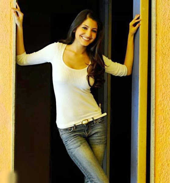 Anushka Sharma in White T-shirt and Denim Jeans