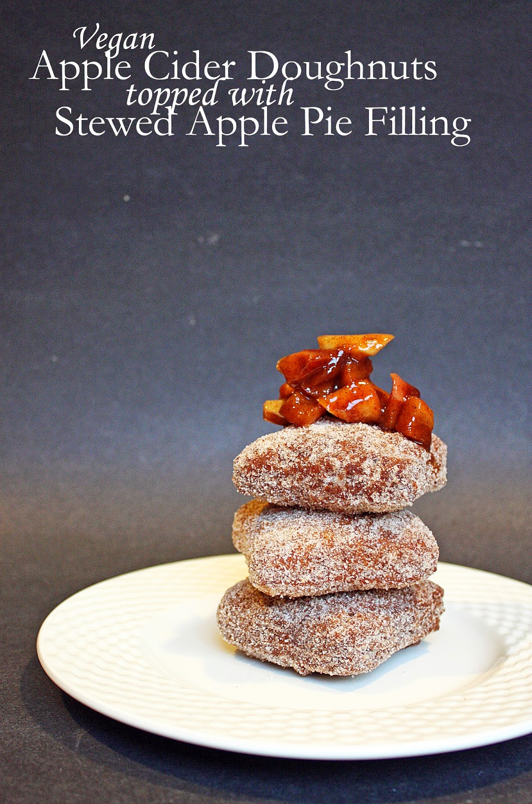 Vegan apple cider doughnuts with stewed apple pie filling