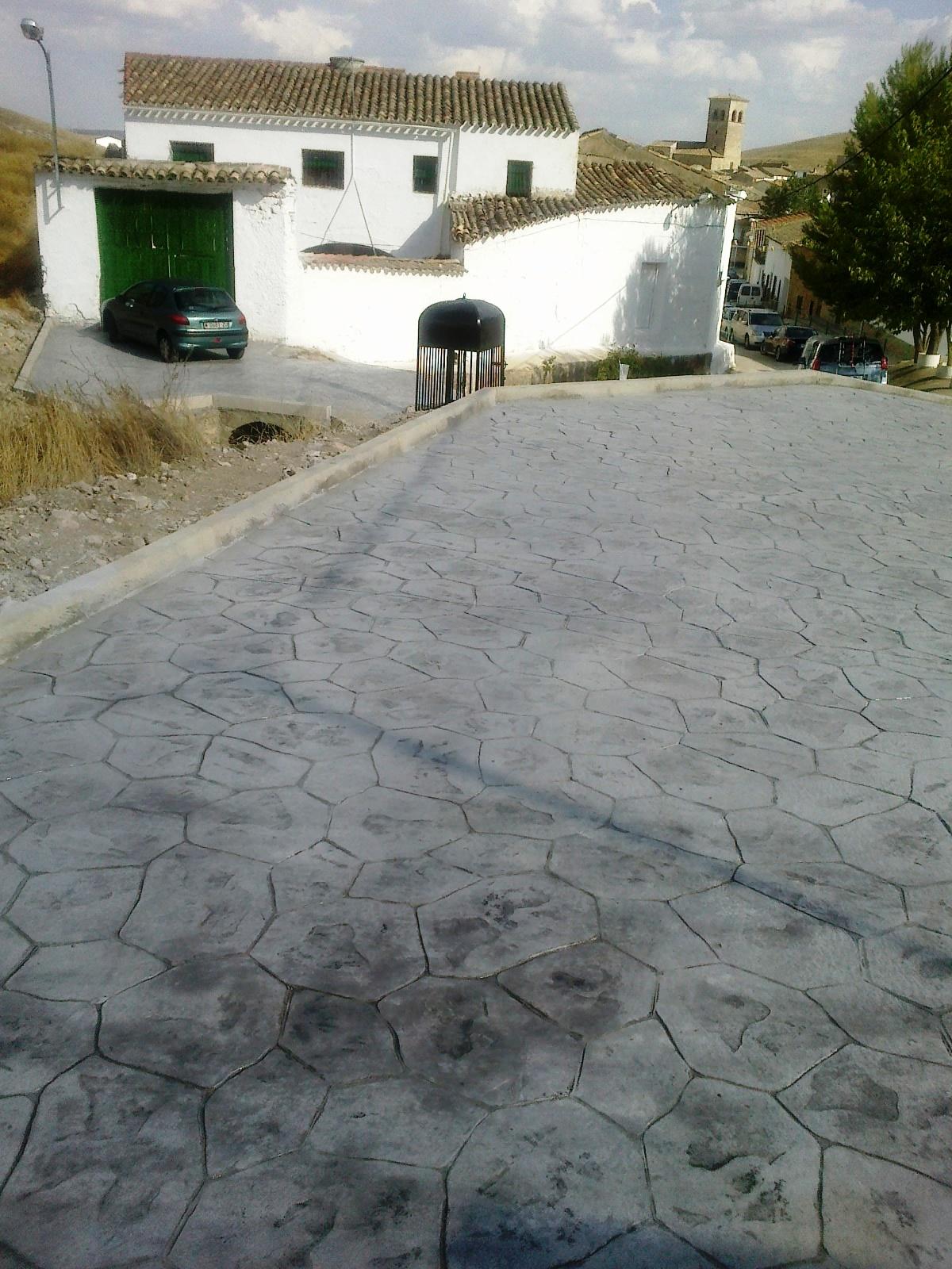 patio de hormign impreso adoquin color